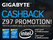Bis zu 60 € Cashback! INTEL - GIGABYTE - CPU & Mainboard Bundle - CASHBACK - Z97 Promotion