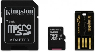 64GB micro SDHC, Kingston class10 mit Adapter